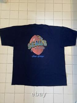 1990s Extremely Seaus The Restaurant XL T- Shirt Blue. Rare Junior Seau
