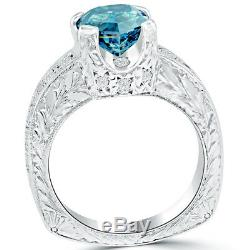 2.18 Carat Extremely Rare Fancy Blue Diamond Engagement Ring Set in Platinum
