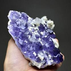 225g Natural Extremely Rare Blue Diamond Fluorite & White Quartz & Rose Calcite