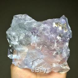 453g Gem grade-rare Natural Extreme transparent purple phantom blue fluorite