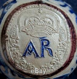 An extremely rare and important Westerwald stoneware AR jug stein, 1710