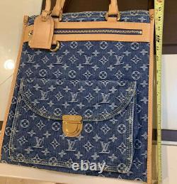 Authentic Louis Vuitton Blue Denim Monogram Sac Plat Bag. Extremely Rare