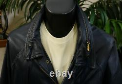 Bally Extremely Rare Navy Blue Leather Jacket 48-2XL Exquisite