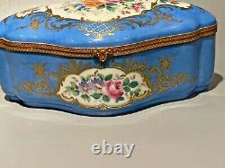 Blue chest Limoges trinket box. Porcelain EXTREMELY RARE