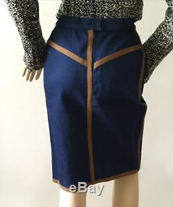 Chanel Extremely Rare Vintage Denim, Ribbon Trimmed Skirt (Size 38/4)