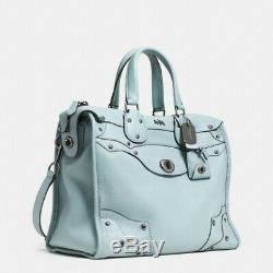Coach Rhyder 33 Soft Leather XL Satchel Bag baby PALE BLUE EXTREMELY RARENEW