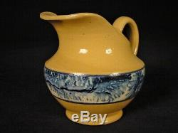 EXTREMELY RARE 1800s BLUE MOCHA MINIATURE PITCHER & BOWL MOCHAWARE YELLOW WARE