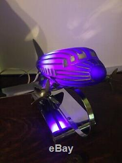 EXTREMELY RARE 1938 DC3 Airplane Lamp /Cobalt Blue withChrome BasePatent 110196