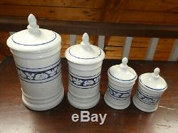 EXTREMELY RARE DEDHAM Kitchen Counter Canister Set Full Size 4-pc