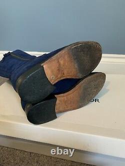 EXTREMELY RARE Fairfax & Favor ROYAL BLUE Suede Regina Boots. VGC. Flat. Sz 4