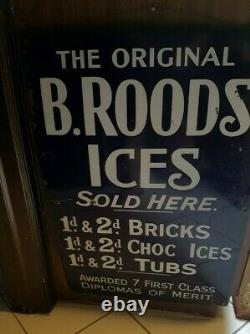 EXTREMELY RARE Lg Vintage Porcelain B ROODS ICES Sign- Rare Cobalt Blue 30 x 20