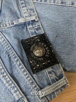 EXTREMELY RARE! Versace Vintage Big Logo Light Blue Denim Jeans Size 28-29