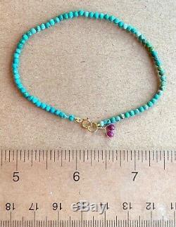 Extreme rare LIMITED Sleeping Beauty Turquoise Beaded Gemstone Bracelet 7.1 14k
