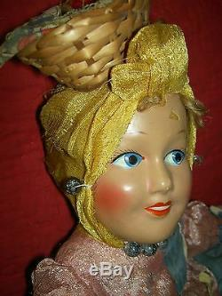 Extremely RARE black/white compo. 1930 Topsy-Turvy TWO-sided LARGE boudoir doll