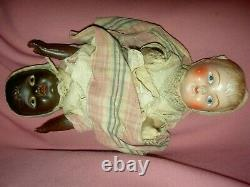 Extremely RARE black/white composition c1900 Topsy-Turvy TWO-sided doll a/orig