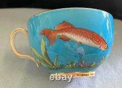 Extremely Rare 19th C Mintons Fish Cups And Saucer Trio Hand Painted G1302