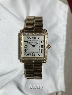 Extremely Rare Cartier Square Tank Obus 18k Yellow Gold Watch, Diamond Bezel