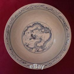 Extremely Rare Chinese Yuan Blue and White Bowl with Painted and Incised Dragon