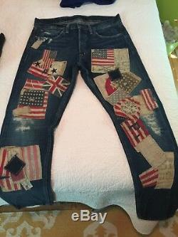 Extremely Rare Denim & Supply By Ralph Lauren Flag Patch Jeans 32 X 32