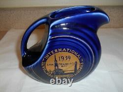 Extremely Rare! Fiesta Hlcca Juice Pitcher 1939 Cobalt New York World Fair