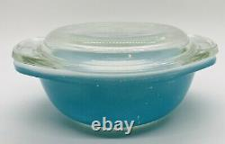 Extremely Rare HTF Pyrex Blue 080 Mini Casserole With Lid