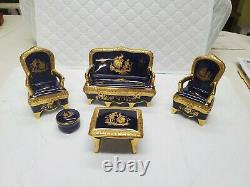 Extremely Rare PORCELAINE IMPERIA Cobalt Blue Limoge Set with accent pieces