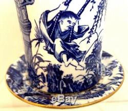 Extremely Rare Royal Crown Derby Blue Mikado3 Piece Preserve Pot