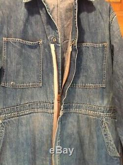 Extremely Rare Vintage 1940's 50's Denim Carhartt Coverall Heart Script Logo