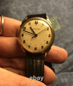 Extremely Rare Vintage Bulova Accutron 214 Blue Canadian Railroad Gold Watch