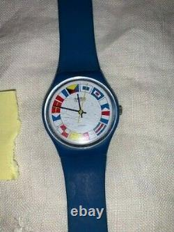 Extremely Rare Vintage Swatch GS101 12 Flags Watch Blue Band Ebauches Swiss 1984