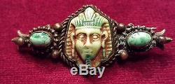 Extremely Rare Vintage Turquoise Stone on Antique Patina EGYPTIAN REVIVAL PIN