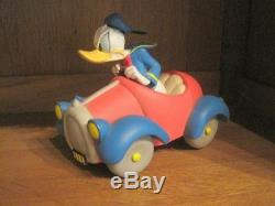 Extremely Rare! Walt Disney Donald Duck in Red Blue Car Figurine Statue