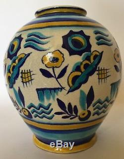 Extremely rare Charles Catteau Boch Frères Keramis Vase 1346 stylistic décor