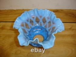 Fenton Blue Opalescent Optic Extremely Rare Lamp Shade