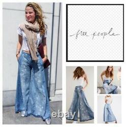 Free People Luna Extreme Wide Leg Flare Boho Festival Print Denim Jeans 27 Rare