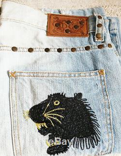 Genuine Dolce & Gabbana Black Panther Studs Denim Vintage Extremely Rare Pants