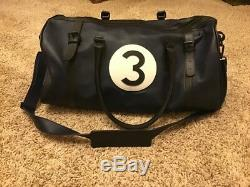Jaguar Heritage Duffle Bag Dark Blue Leather extremely Rare Racing Bag