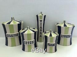 Jonathan Adler Vice Collection Blue/Green EXTREMELY RARE Canister Set 2007