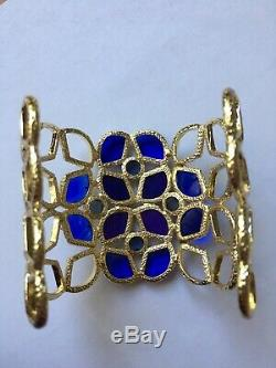 Kendra Scott Paley Blue Purple Stone Bracelet Cuff Gold Frame Extremely Rare