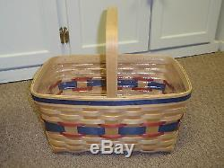 Longaberger EXTREMELY RARE JERRY LONGABERGER BASKET Red/Blue Accent Weaves. NEW