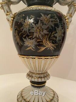 Meissen Snake Porcelain Vase Urn with Extremely Rare Edelvais Painting