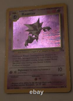 Misprint Pokemon Haunter Fossil Holo BLUE INK STAIN ERROR LP Extremely Rare