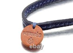 NEW HermesPetit H LaniereLeather Necklace Purple OR Navy BlueEXTREMELY RARE