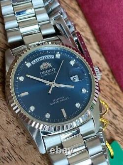 NWT! EXTREME RARE Orient Oyster President DateJust Homage BLUE Dial USA SELLER