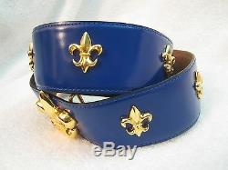 New Moschino Blue Leather Belt with Gold Fleur-de-lis Italy -Extremely Rare