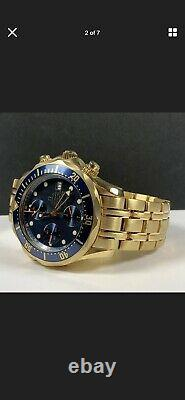 Omega seamaster 18k solid gold, blue bezel and dial, extremely rare, mint