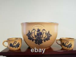 Pfaltzgraff Folk Art Punch Bowl With Ladle And 10 Punch Cups Extremely Rare