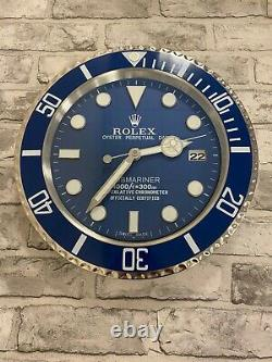 Rolex Submariner Blue Large Dealer Wall Clock 35cm, Extremely Rare