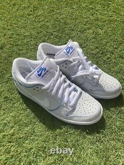 SAMPLE PAIR Nike Dunk Low Cracked Leather White Game Royal Size 9 EXTREMELY RARE