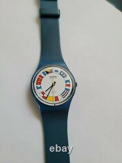 Swatch Watch GS101 Nautical 12 Flags Blue 1984 Working Extremely Rare Vintage